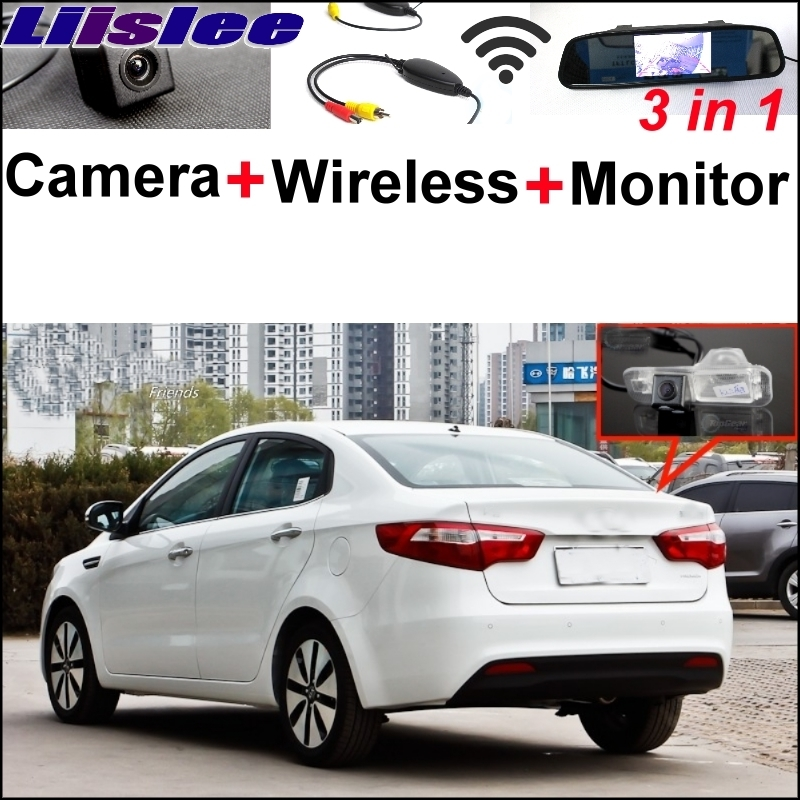 цена Liislee 3 in1 Special Camera Wireless Receiver + Mirror Monitor Easy Back Up Parking System For KIA Rio K2 Pride Sedan 2011~2017