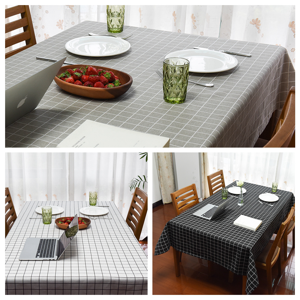 2017 new europe style simple plaid print linen table cloth for Html table lines