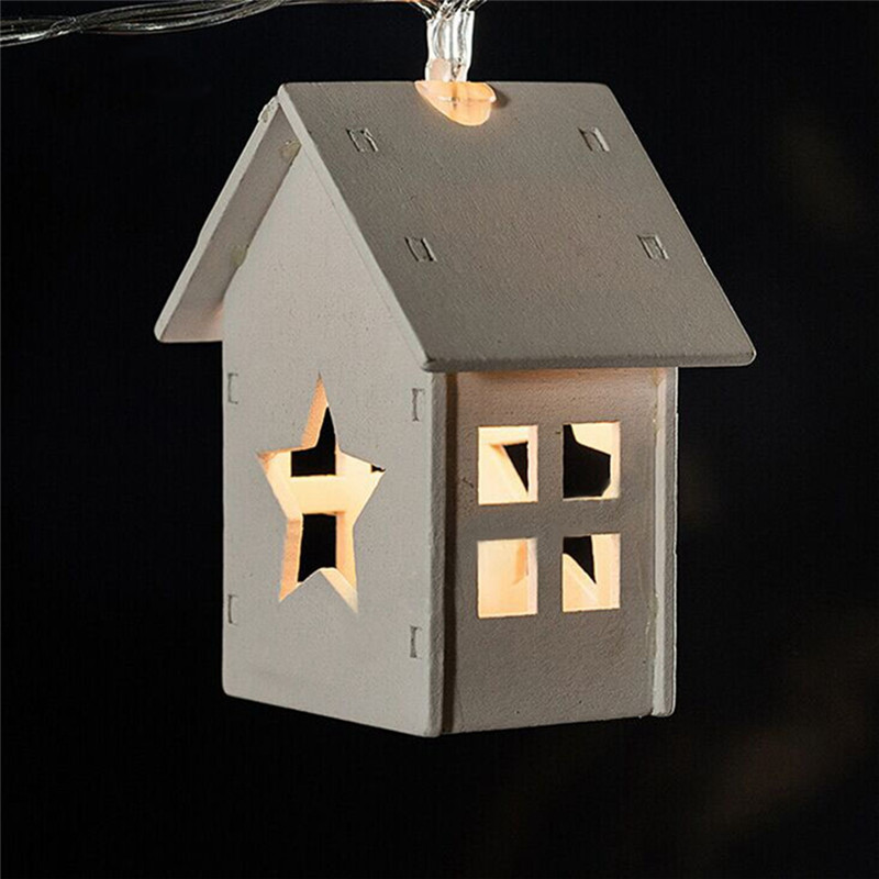 Battery Operation Wooden Star Lights 10led Wood House