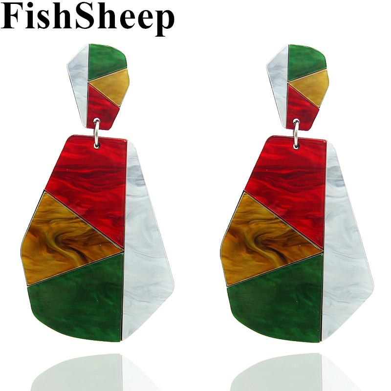 FishSheep акриловые большие висячие серьги для женщин Бохо многоцветные геометрические ацетатные серьги эффектные модные ювелирные изделия би...