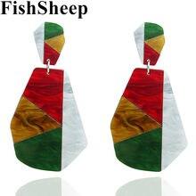 FishSheep Acrílico Big Dangle Brinco Pendente Para Mulheres Boho Mulit Cor Geometria Acetato Declaração Brincos Moda Jóias Bijoux