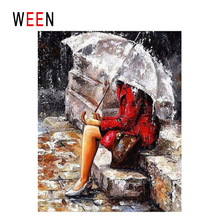 WEEN Umbrella Woman Diy Painting By Numbers Abstract Rain Oil On Canvas Step Cuadros Decoracion Acrylic Wall Art Decor