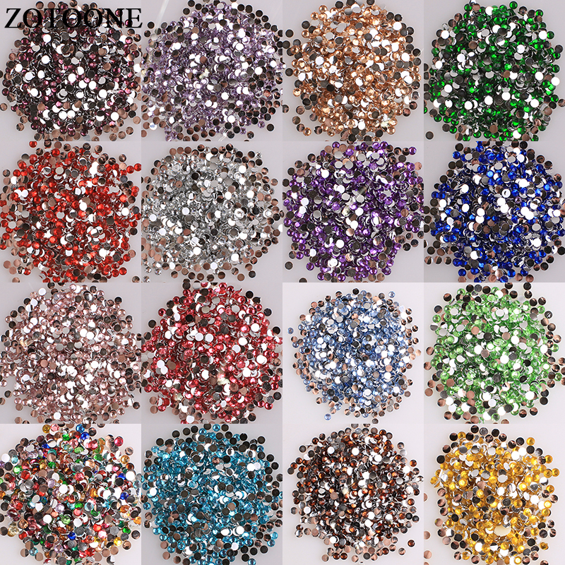 ZOTOONE Flat Back Resin Non Hotfix Stones And Crystals For Clothes Diy Decoration Glue On Nails Ab Rhinestones Strass Applique E