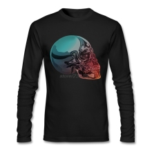 Youth Chrome Skull T-Shirt Humor O-Neck Awesome Shirt Designs Custom Made Natural Cotton Mens Tee Shirts