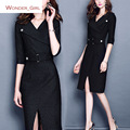 2016 New Arrival Winter Women's Clothing Turn-down Collar Plus Size Slim Sexy Brand Female Office Pencil Belt Dress  M-3XL