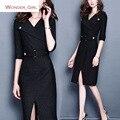 2016 mulheres novo inverno chegada roupas turn-down collar plus size sexy slim marca feminino escritório lápis cinto dress m-3xl