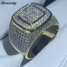 choucong 2018 Male HIP HOP Party Ring 274pcs 5A zircon cz Yellow Gold Filled 925 Silver Engagement Wedding rings For men Jewelry(China)