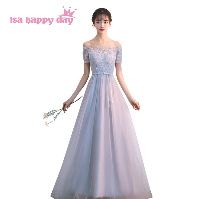 Robes De Soiree Modest Women Long Grey Elegant Prom Dress Formal