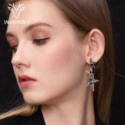 Viennois prata do vintage estrela gota brincos para as mulheres abstrato strass geométrico longo balançar moda jóias 2019