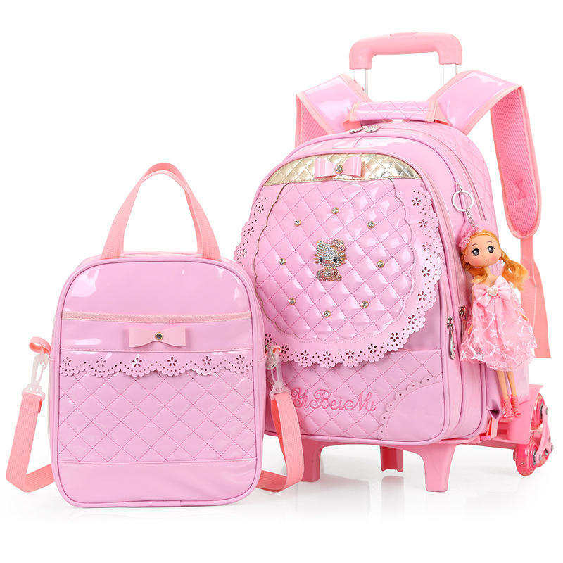 2019 New Children Trolley School Bag Set Girls Night Reflective Strips PU Waterproof Leather three wheeled Backpack For Students2019 New Children Trolley School Bag Set Girls Night Reflective Strips PU Waterproof Leather three wheeled Backpack For Students