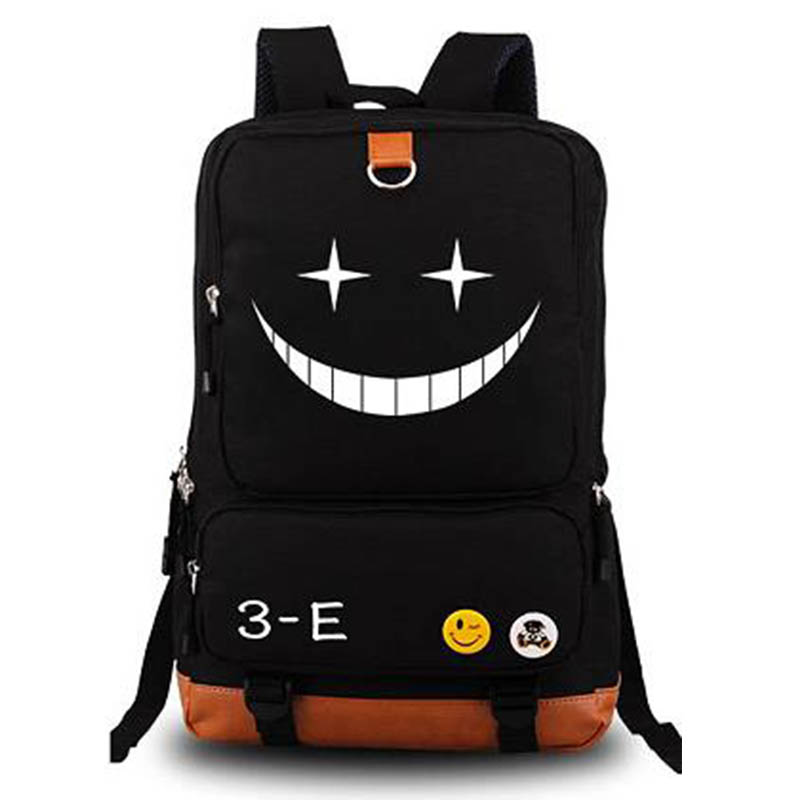 Japanese Anime Assassination Classroom Ansatsu Kyoushitsu Backpack Korosensei Emoji Smiley Print Shoulder School Bags Backpacks anime assassination classroom cosplay fashion casual men and women travel bags birthday gift