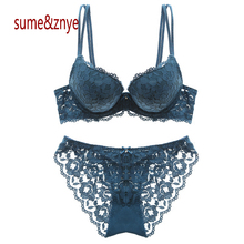 Girl sexy lace embroidery bra set thick deep V small chest gather woman bra and pants
