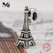 925 sterling silver jewel Eiffel Tower Travel Beads Fit Authentic Pandora Bracelet Charms for women fashion DIY gift
