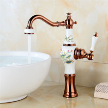 Bathroom Basin Faucet Gold Brass Sink Mixer Tap Hot & Cold Faucet Single Handle Ceramic Vase Shape Bathroom Crane Lavatory Tap цена в Москве и Питере