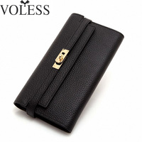 The Cross Lines Lock Leather Women Wallets Famous Brand Wallet Designer Long Wallets Purse Women Clutch