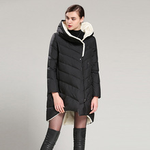 2016 casaco para baixo das mulheres gola de médio-longo espessamento solto plus size térmica