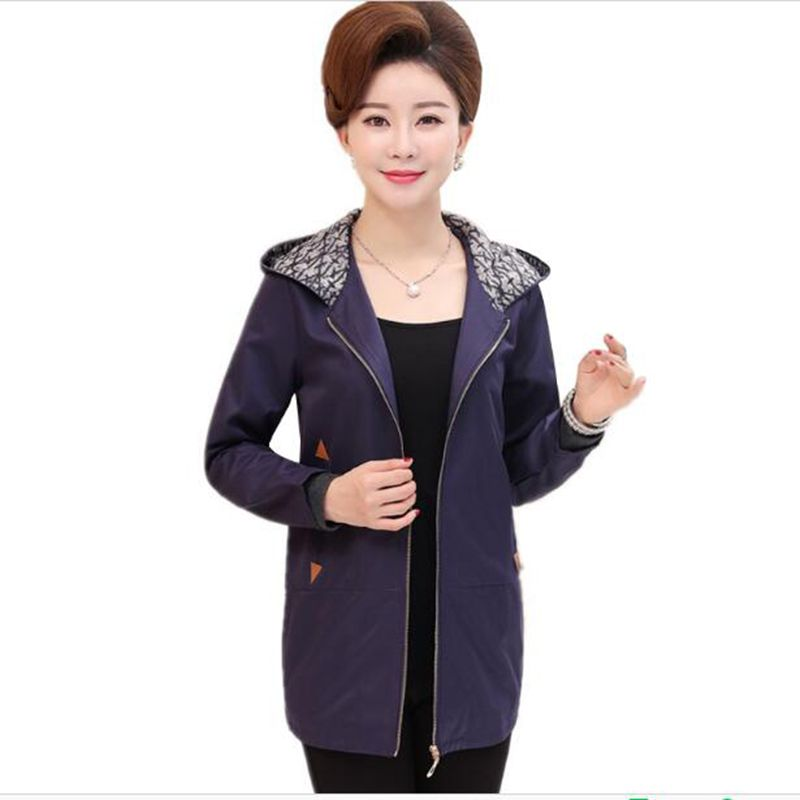 Large size Middle-aged Ladies Clothes Overcoat 2018 New Spring Autumn Mother Casual Windbreaker Women Loose Hooded   Trench   Coat