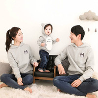 Family Hoodies Gray Pullovers Long Sleeve Shirts Cotton Cartoon Family Look Autumn Spring Father Mother Baby Matching Clothes