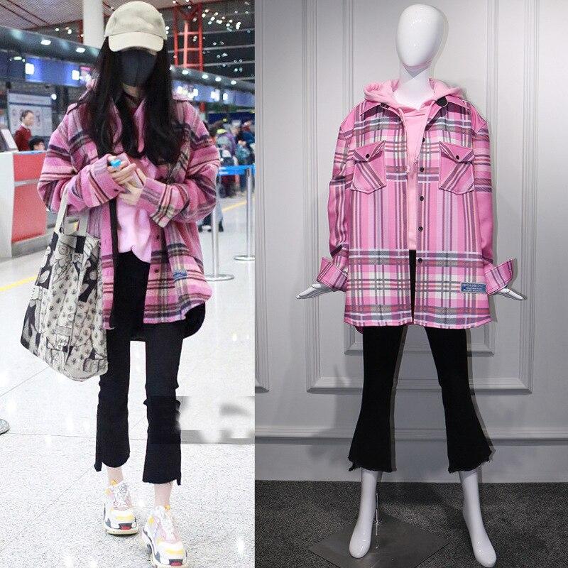 Printemps et automne Star Yangwei Airport le même Plaid rose moyen-long chemise pardessus femme Plaid chemise femmes vêtements