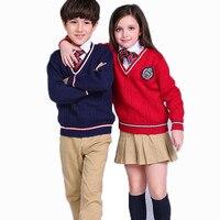 School Uniform Children Outwear Teenage Boys Cardigan Brand Design Sweaters Casual Autumn Winter Clothing Cotton Kids
