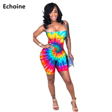 New Summer Women Sexy Playsuit Colorful Print Tie Dye Bodysuit Slim Skinny Lace Up Backless Clubwear Outfit Jumpsuit