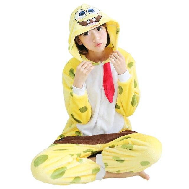 b84995ea6be4 WELIVENICE Adult Women Animal Pajamas SpongeBob Suit Flannel Warm Soft Sleepwear  Sleepwear Overall Comfortable Cosplay Yellow