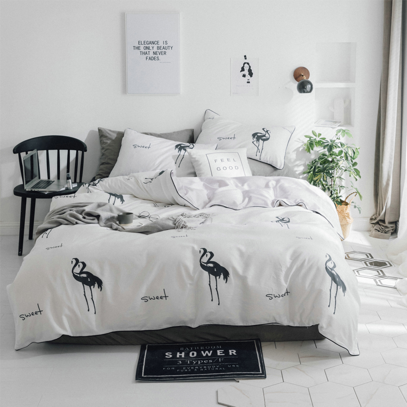 US $78.6 40% OFF|New Flamingo Bedding Sets black white egyptian cotton Bed  Sheet Duver Quilt Cover Pillowcase Soft King Queen Full Twin-in Bedding ...