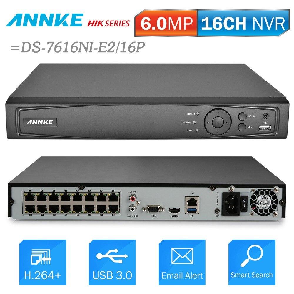 ANNKE 16CH 6MP POE NVR Réseau enregistreur vidéo DVR Pour POE IP Caméra P2P Nuage Fonction Plug And Play = NIK DS-7616NI-E2/16 P