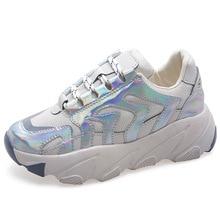 Купить с кэшбэком Women Platform Shoes Woman Spring Autumn Bling Shinny Sliver Sneakers Fashion Women Casual Shoes Women's Increase footwear