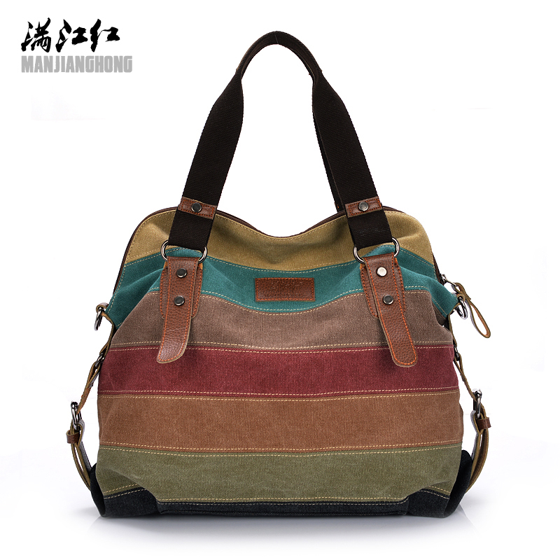 Colorful Women Canvas Shoulder Bag Large Satchel Handbags Ladies Patchwork Crossbody Messenger Bag Women Casual Tote