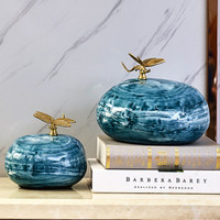 Chinese Style Hand Painted Simulation Stone Dragonfly Ceramics Decoration Creative Living Room Desktop Decoration X2007