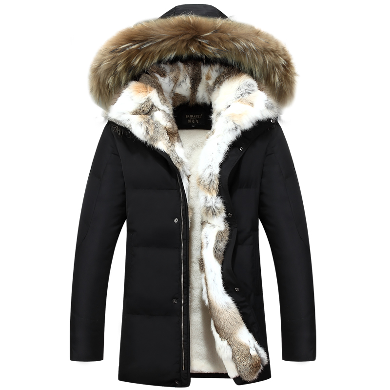 2016 Winter Mens Duck Down Jackets Coats Real Rabbit Fur Men Women Lovers Fashion Thick Warm Parka Mens jaqueta masculina S-5XL