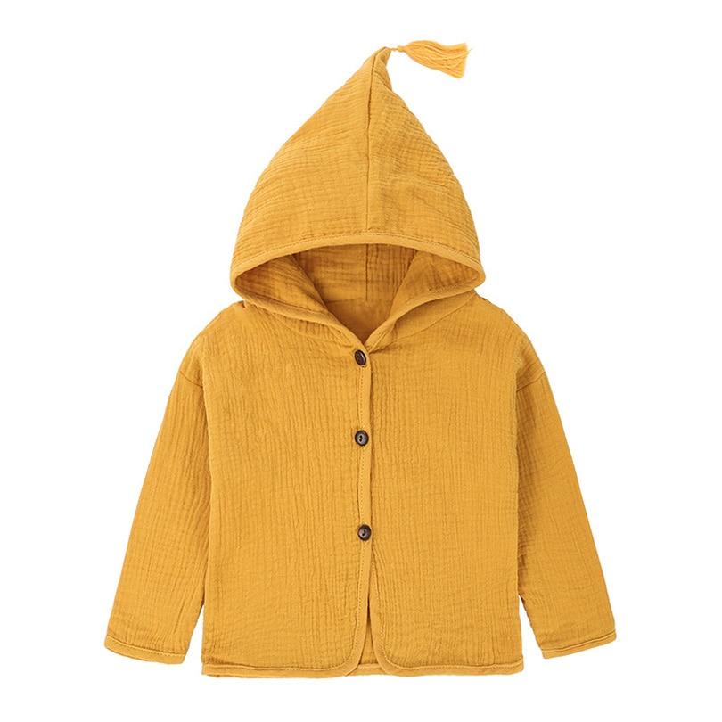 Tops Shirt Girls Jackets Kids Autumn New Baby Clothing Tassel Hat Design Cotton Linen Children Cardigan 1-6Y Blouse Toddler Bobo