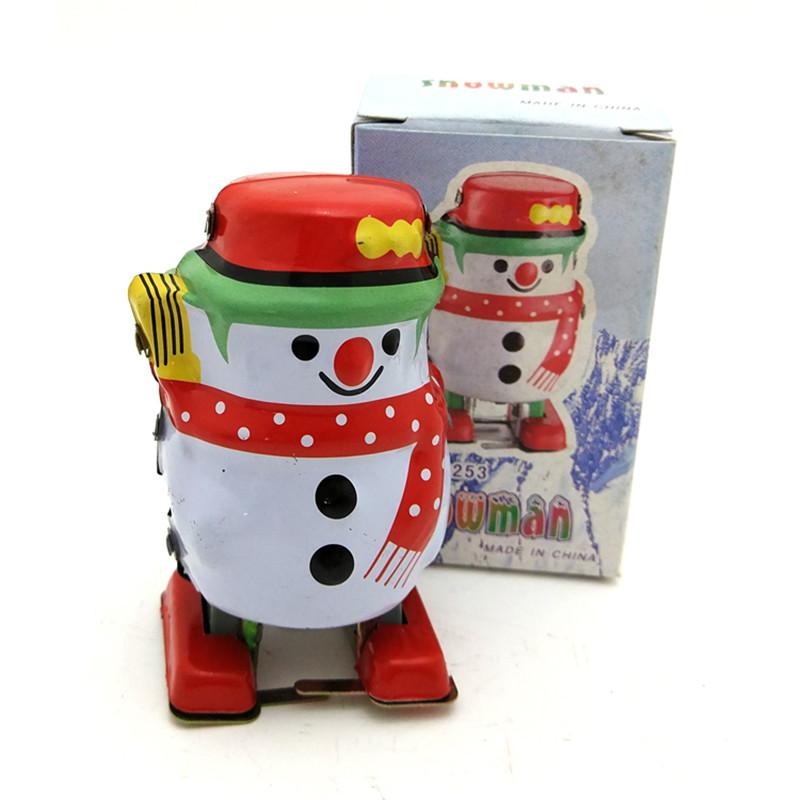 vintage classic clockwork wind up robot de nieve para nios juguetes de hojalata con tecla