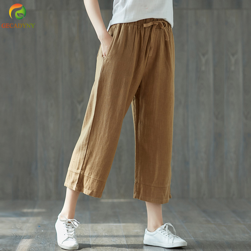 2018 Casual Summer Linen Women's   Pants     Wide     Leg     Pants   Women Loose Drawstring Elastic Waist   Pants   Comfortable Trousers Female
