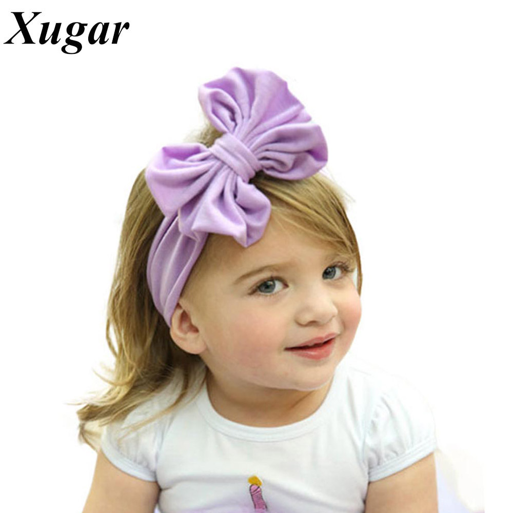 Infant Toddlers Baby Solid Cotton Headband With Handmade Boutique Big Bow For Newborn Children Hair Accessories popular in europe and america children wear hair knotted cotton big bow tie children hair baby hair headband