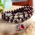 Top Quality Gifts Natural AAA Garnet Bracelet DIY Fashion Jewelry Animal Charm Elegant Tibetan Silver Plated Elephant Bracelets