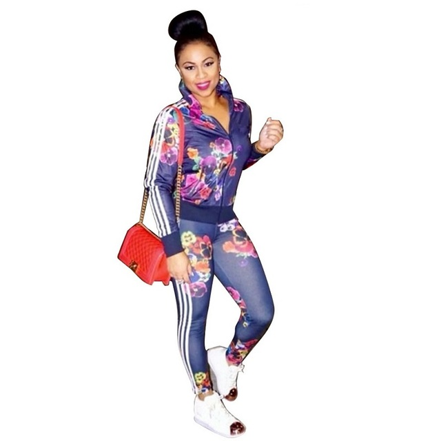 Zip Cardigan Full Sleeve Fashion Print Jacket Tops Women Pant Suits  Business Office Wear Women Pants Sets Business Suits Ladies 68ca185056