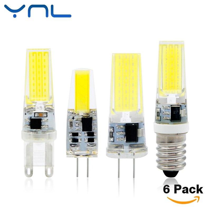 Ynl 6 шт./лот затемнения светодиодные лампы G4 <font><b>G9</b></font> E14 AC/DC 12 В 220 В 3 Вт 6 Вт 9 Вт вел G4 <font><b>G9</b></font> лампы 360 Угол луча заменить галогенные люстры