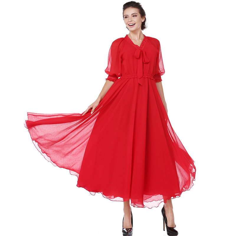New 2017 Womem Maxi Dress Vintage Chiffon Half Sleeve V-neck Embroidery Slim Red Party Vestidos Long Robe ...