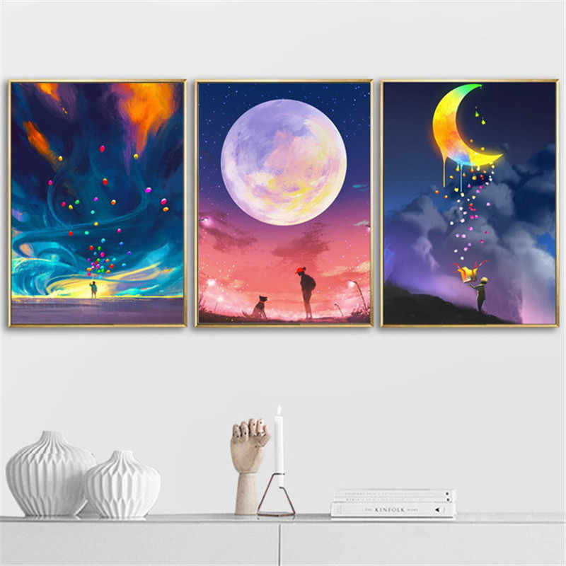 Moon Canvas Poster Painting Image Wall Art Picture Prints Home Decor Unframed