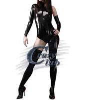 New Fashion Sexy Black Latex Zentai Catsuit women Sexy asymmetrical latex catsuit for adult fetish rubber slim tight bodysuit