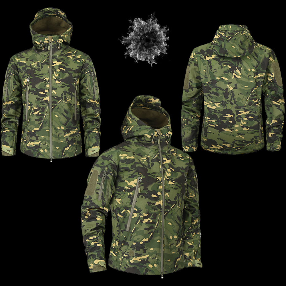 Men's Military Camouflage Fleece Jacket Army Tactical Clothing 10