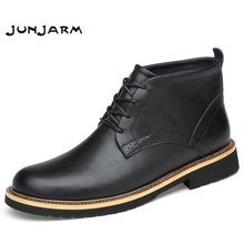 JUNJARM 2019 Handmade Genuine Leather Men Ankle Boots Real Leather Men Boots Black Men Winter Shoes With Fur Big Size 38-48