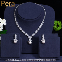Pera Luxury Simulated Pearl Wedding Jewelry For Women Big Cubic Zirconia Leaf Shape Necklace Earrings And Bracelet Sets J231