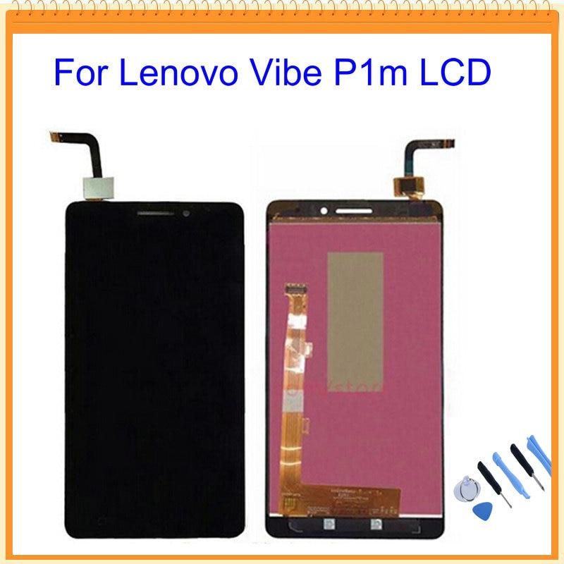 imágenes para 100% nuevo probado para lenovo vibe p1m lcd de pantalla con pantalla táctil digitalizador asamblea negro + herramientas de envío gratis