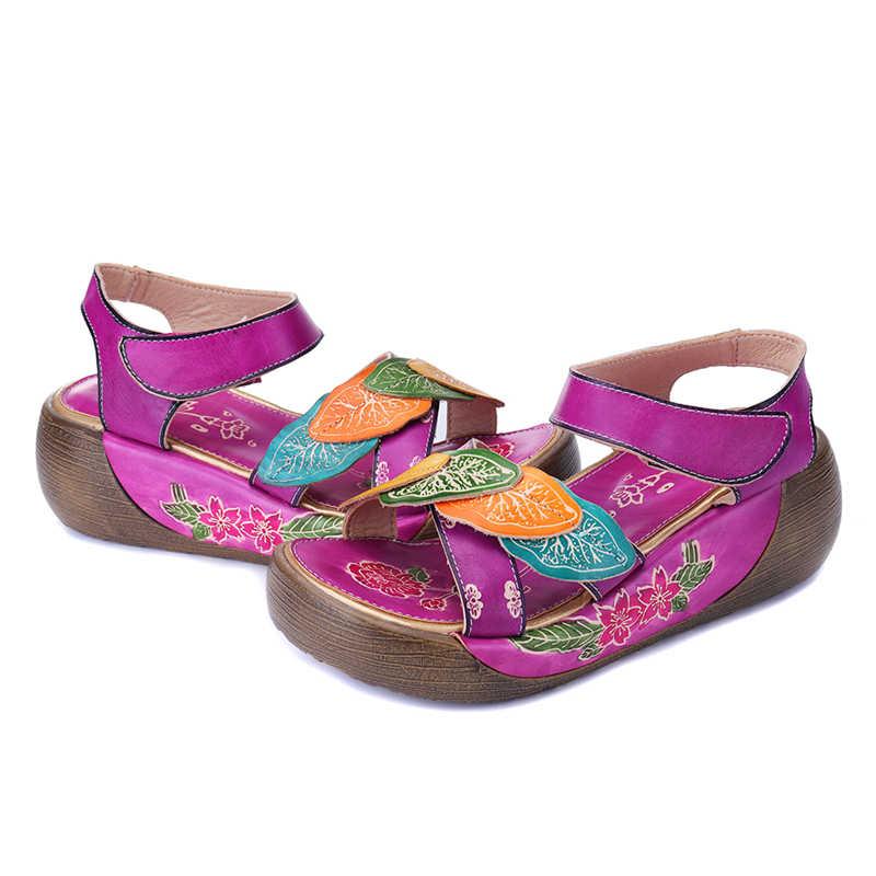 Socofy ผู้หญิงรองเท้าแตะของแท้หนัง Vintage พิมพ์รองเท้าแตะรองเท้าผู้หญิงฤดูร้อนรองเท้าแตะ Hook & Loop Zapatos ใหม่