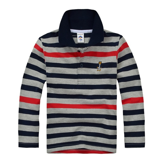 Top quality boys girls shirt for kids long sleeve t-shirt cotton striped  color 2