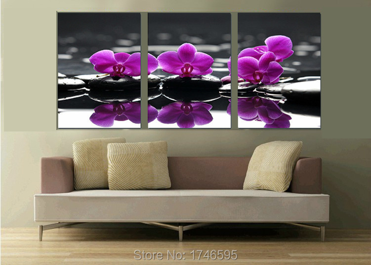 big modern home decor wall art picture living room bedroom wall decor purple orchid flower printed