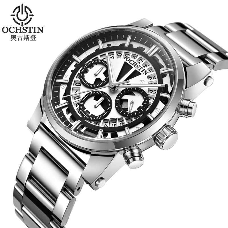 OCHSTIN Men Watch CHronograph Date Stainless Steel Band Top Brand Luxury Military Army Sport Quartz Watch Male Clock 6110B stainless steel men chronograph watches luxury brand sport waterproof quartz watch men military wrist watch army men clock reloj